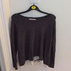 pink republic gray sweater with lace!